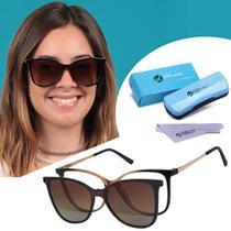 Óculos Clipon Armação De Grau e Sol Gatinho Feminino Marrom Isabela Dias Original 5004 -