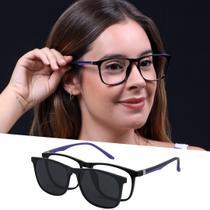 Óculos Clipon Armação De Grau e Sol Quadrado Leve Preto Feminino - Isabela Dias
