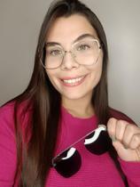 Óculos Clipon Sol Armação Feminino Grau Retrô Quadrada Thelma 2 em 1 Dourada - Palas Eyewear