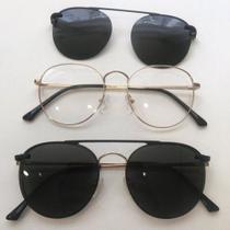 Óculos Clipon Sol Armação Feminino Grau Retrô Redondo - Oc