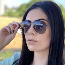 Óculos de Sol Aviador Masculino Feminino Preto Fume Degrade - Italian Grife