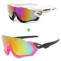 Óculos De Sol Bike Ciclismo Feminino Proteção Uv Kit 2 Peças - Esportivo