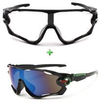 Óculos De Sol Ciclismo Espelhado + Noturno Kit 2 Unidades - Esportivo