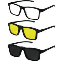3b5a8d9be Oculos De Sol Clipon Grau Quadrado Polarizado Preto Masculino 707 - Izaker