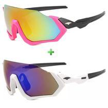 Óculos De Sol Feminino Esportivo Proteção Uv Kit 2 Unidades -