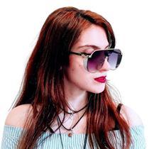 Óculos de Sol Feminino Oversize Cristal Was UV400 -