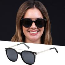 Óculos De Sol Feminino Preto Acetato Lente Polarizada Uv 400 - Isabela Dias