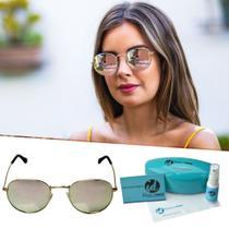 e068e6302 Oculos De Sol Feminino Redondo Lente Espelhada Retro - Isabela dias