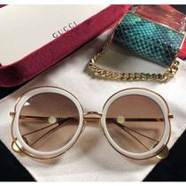 ad86d4d52 oculos de sol gucci redondo branco perola -