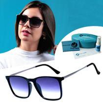 Oculos De Sol Quadrado Lente Degrade Preto Feminino - Isabela Dias
