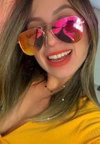 Óculos Espelhado Feminino De Sol Escuro Aviador Barato Novo - Prsr