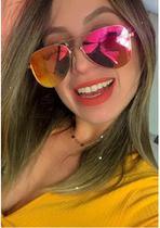 Óculos Espelhado Feminino De Sol Escuro Aviador  Novo - Prsr