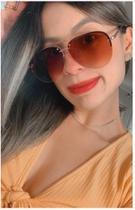 Óculos Feminino Rosa Gold Rose Espelhado Aviador Moda - Prsr