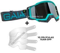 Óculos Gaia Mx Motocross Pró Acqua + 10 Película Tear Off -