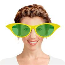 Óculos Gatinha Gigante Plástico com Lente Verde e Amarelo Brasil FestaBox -