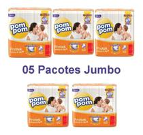Oferta Kit C/5 Pacotes Fraldas Pompom P M G Xg Jumbo Protek - FRALDA INFANTIL
