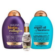 OGX Argan Oil, Coconut Milk e Biotin & Colagen Kit - Shampoo + Condicionador + Sérum -