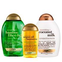 OGX Bamboo Fiberfull, Coconut Milk e Marocco Penetrating Oil Kit - Shampoo + Condicionador + Óleo -