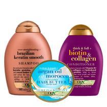 OGX Biotin & Colagen, Argan Oil e Brazilian Keratin Smooth Kit - Shampoo + Condicionador + Hair Butter -
