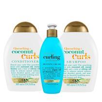 OGX Coconut Curls e Argan Oil Curling Perfection Kit - Shampoo + Condicionador + Creme de Pentear -