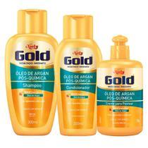 Óleo de Argan Pós Química Niely Gold - Shampoo + Condicionador + Creme de Pentear -