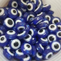 Olho grego achatado azul caneta com branco 8mm - 10 unidades - Palacio Dos Cristais