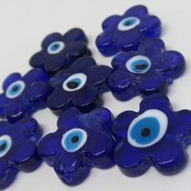 Olho grego flor azul caneta com branco 28mm/unidade - Palacio Dos Cristais