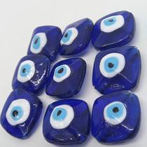 Olho grego losango  azul caneta com branco 28mm/unidade - Palacio Dos Cristais