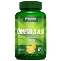 Ômega 3, 6 e 9 Linhaça, Prímula E Borragem + Vitamina E - 60 Cápsulas - Herbamed -