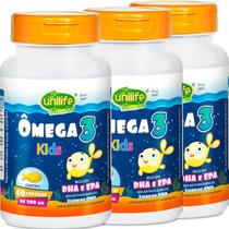 Ômega 3 Kids Unilife 60 cápsulas KIT com 3 unidades -