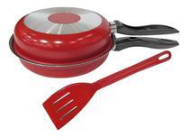 Omeleteira Frigideira Dupla Antiaderente 20 cm Vermelha com espátula Marpal -