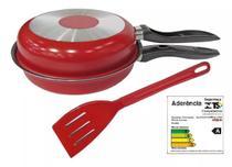 Omeleteira teflon vermelha grande marpal com espatula -