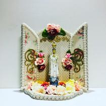 Oratorio de madeira catolico decorativo nossa senhora de fátima - Armazem