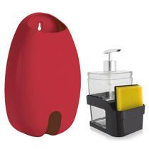 Organizador Acoplado Esponja Detergente Puxa Saco Plástico Vermelho - Ou