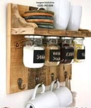 Organizador Cozinha rústico Madeira Parede Porta Temperos condimentos - Chimera Concepts