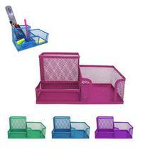 Organizador de mesa / porta caneta / lapis / clips e papel aramado colors 20,5x10,5cm - Interponte