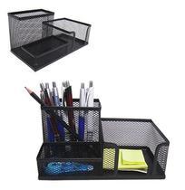 Organizador de mesa / porta caneta / lapis / clips e papel aramado preto 20,5x10,5cm - SAZ COMERCIO