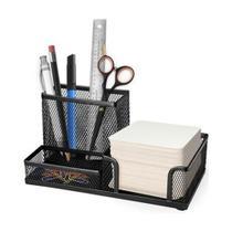 Organizador de mesa / porta caneta / lapis / clips / papel - Em metal aramado na cor preta - Blumeoffice