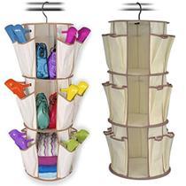 Organizador de Sapatos Rotating Shoe Rack Shoppstore 3 Prateleiras 24 Bolsos Marca: Smart Carousel -