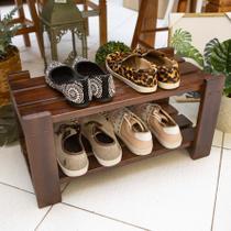 Organizador de Sapatos Sapateira p/ Porta de Casa em Madeira Cor Imbuia - Decore Fácil Shop