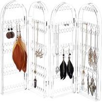 Organizador expositor de brincos joias colar bijuterias suporte dobravel 4 compartimentos acrilico - MAKEDA