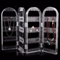 Organizador expositor de brincos joias colar correntes bijuterias suporte dobrável com 4 compartimentos - ACRILICO