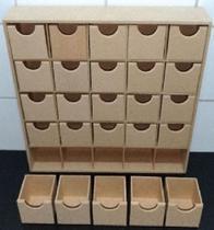 Organizador gaveteiro 25 gavetas rasas mdf cru(43 x 9 x 43) - Girassol