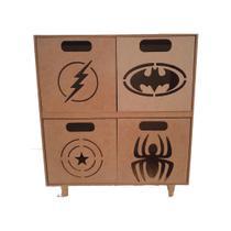 Organizador Infantil Brinquedos Super- Heróis - Mdf Cru - Ideale Mdf