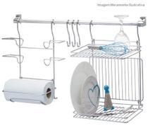 Organizador para cozinha duplo 3 (escorredor / suporte para rolos) - Passerini