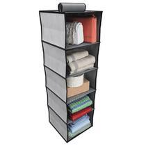 Organizador vertical multiuso sapateira cabideiro para roupa armario 5 divisórias grande cinza luxo - Kangur