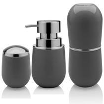 Organizadores Banheiro Lavabo Sobre Pia Com 3 Peças - Chumbo - Ou