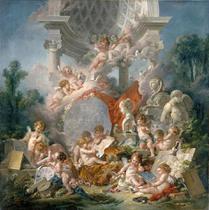 Os Gênios das Artes - François Boucher - 75x75 - Tela Canvas Para Quadro - Santhatela