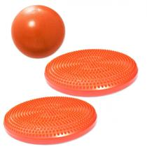 Overball para Pilates 25cm Laranja + 2 Discos Inflaveis de Equilibrio  Liveup -