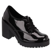 Oxford Feminino Cano Curto Salto Alto Grosso Tratorado - Cr shoes